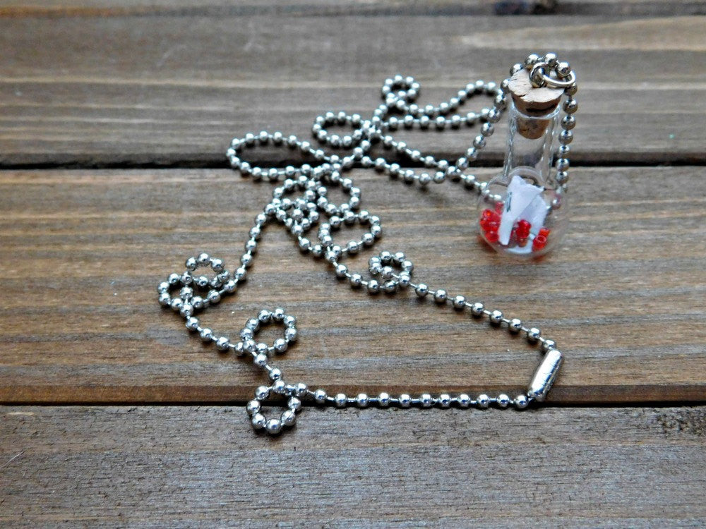 Love Necklace I Love You Necklace Message Necklace Bottle Necklace Glass Pendant Necklace I Heart You Silver Chain Long Necklace Boho
