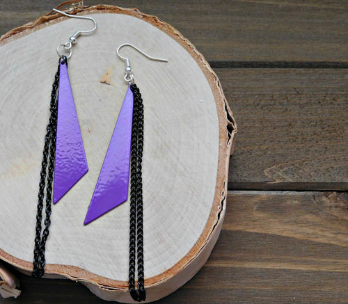 Glam Earrings Geometric Triangle Dangle Chain Earring Purple Blac Boho Dangling Pierced