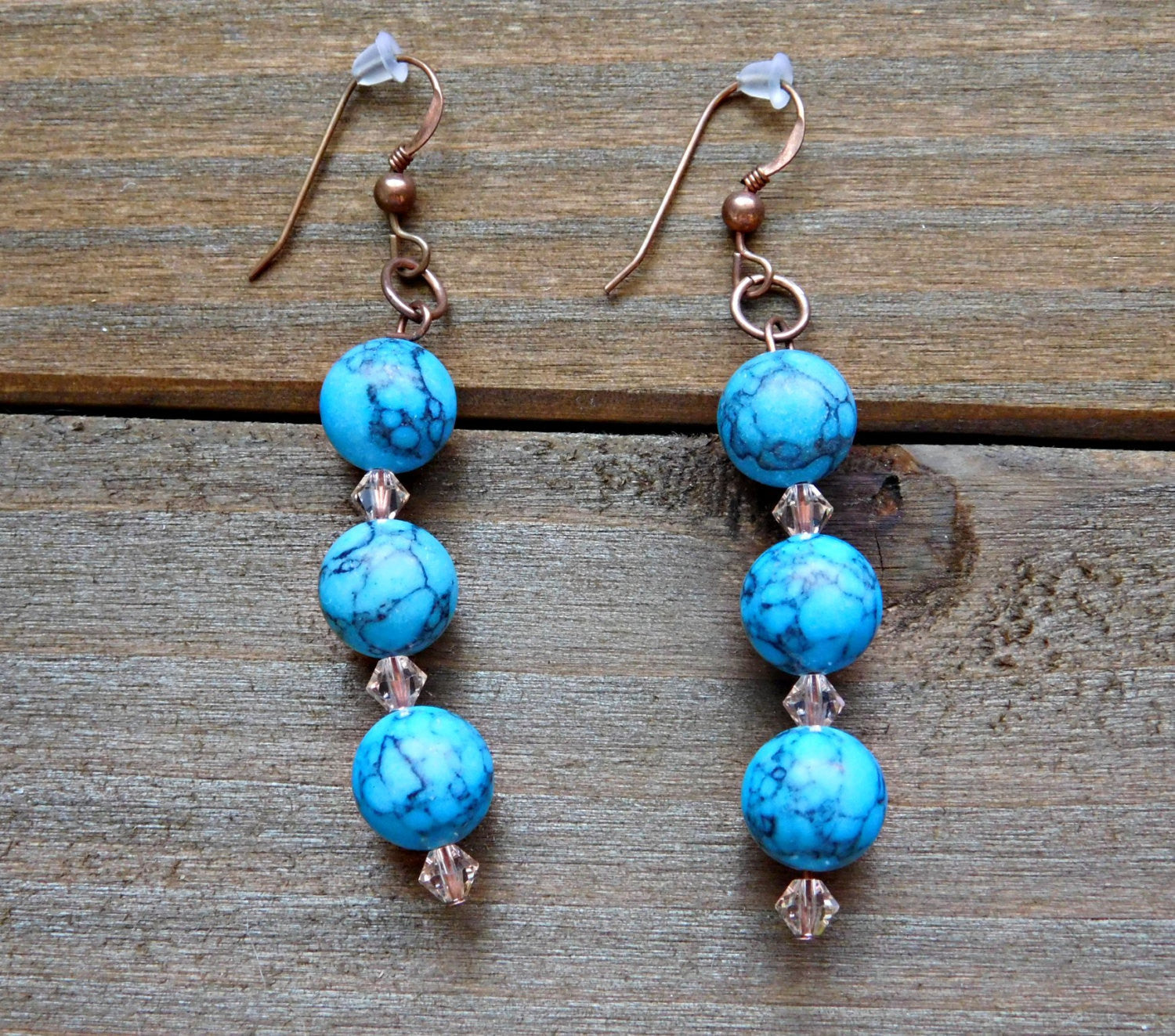 Turquoise Earrings Blue Crystal Earrings Blue Gemstone Earrings Turquoise Gemstone Copper Earrings Natural Gem Stone Yoga Jewelry Women Gift