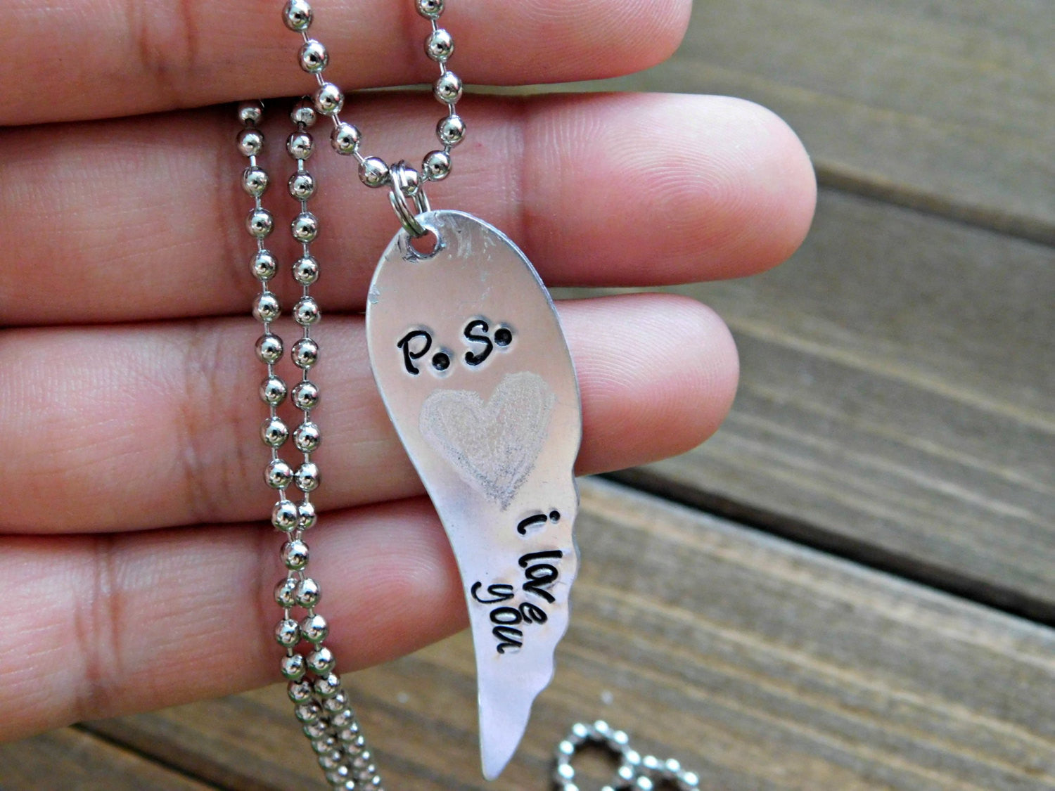 PS I Love You Message Necklace I Love You Necklace Engraved Necklace Wing Necklace Love Necklace Angel Wing Pendant Silver Chain Boho Gift