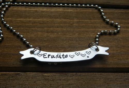 Banner Necklace Custom Personalized Name Word Erudite Faction Stamped Metal Birthday Christmas Gift