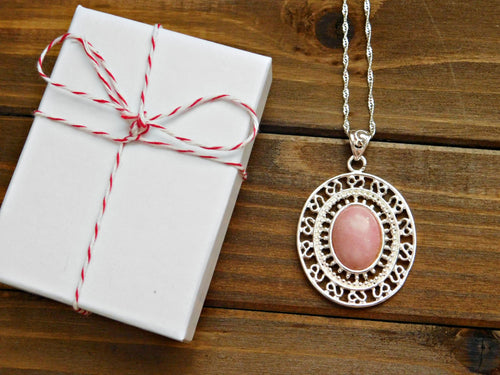 Pink Opal Necklace Pink Opal Gemstone Pendant Necklace Silver Filigree Gem Stone Romantic Women Wedding Bridesmaid Gift Maid of Honor Gift