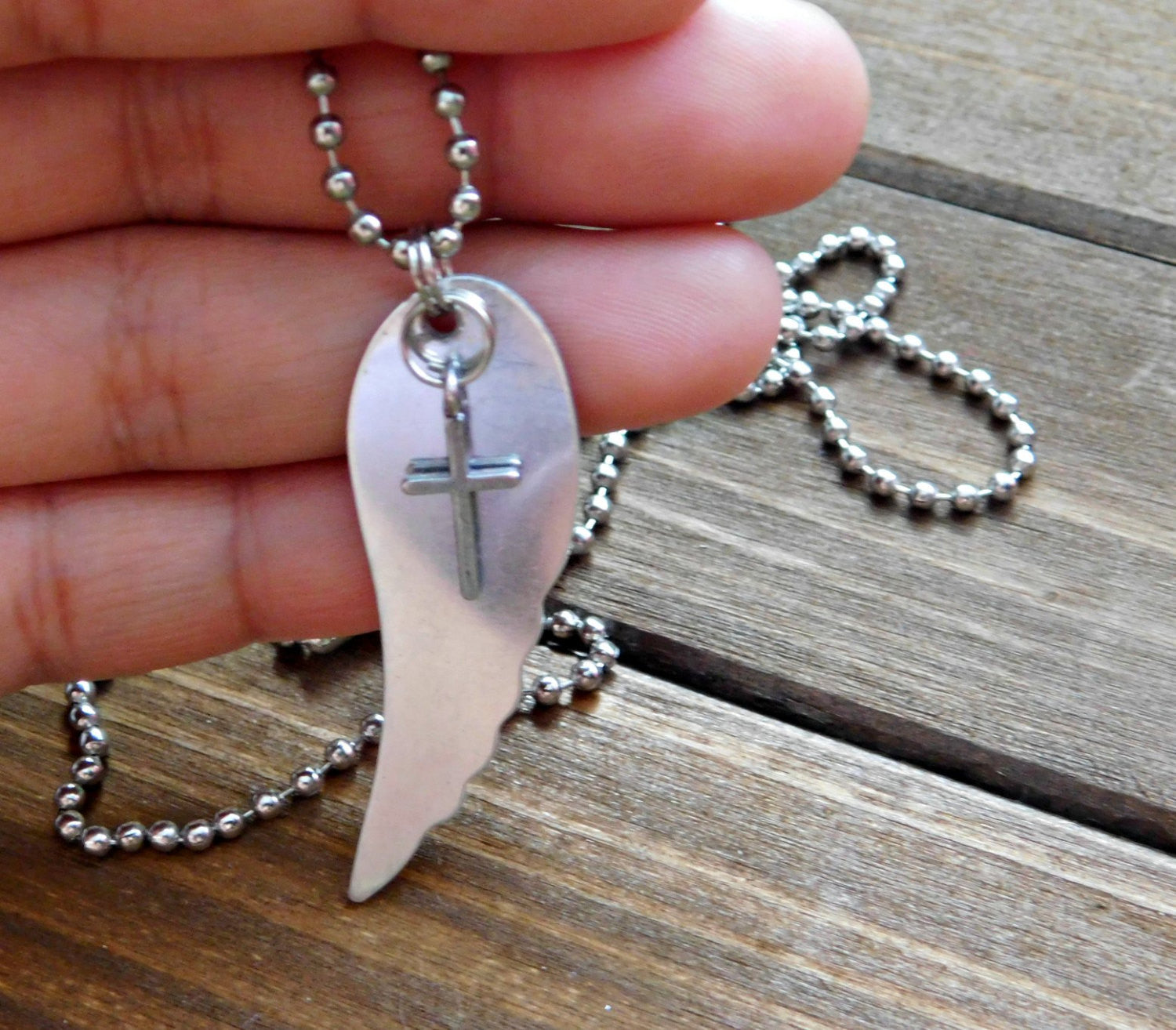 Wing Necklace Charm Necklace Angel Wing Necklace Cross Necklace Cross Pendant Christian Necklace Christian Charm Necklace Long Necklace Gift