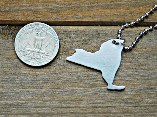 New York Necklace NY Pendant State Shape Outline Metal USA United States Hometown Jewelry
