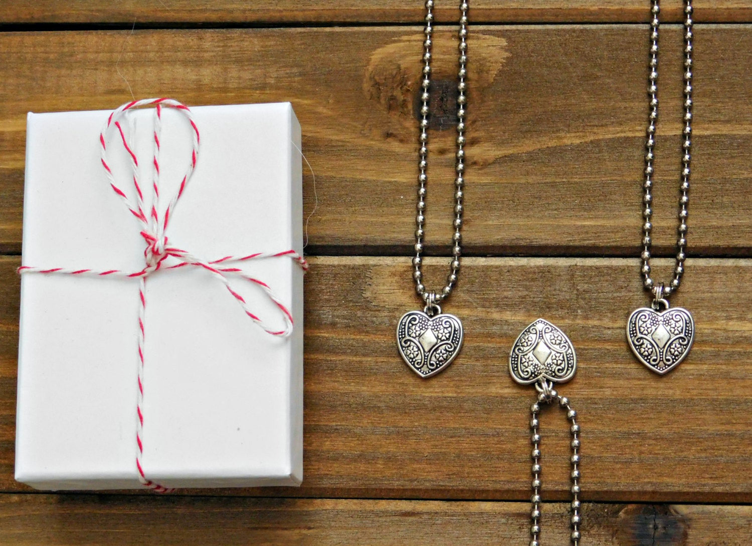 Heart Charm Necklace Dainty Pendant Silver Tone Custom Length Womens Birthday Friendship Girls