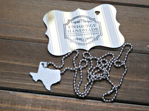 Texas Necklace Pendant State Shape Outline Geography TX USA United States Hometown Jewelry