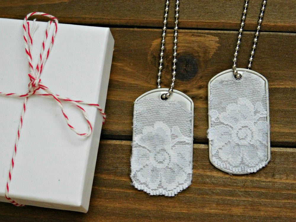 White Lace Necklace Set 2 Bridesmaid Necklaces Sister Necklace Stainless Steel Silver Tag Necklace Military Wedding Boho Layering Necklace