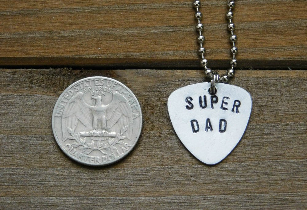 Super Dad Necklace Stamped Necklace Engraved Silver Necklace Dad Grandpa Grandfather Father Pendant Daddy Father's Day Gift Birthday Gift