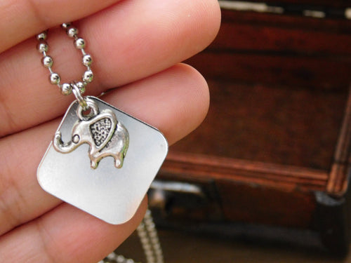 Elephant Necklace Charm Animal Boho Layering Christmas Stocking Stuffer Gift