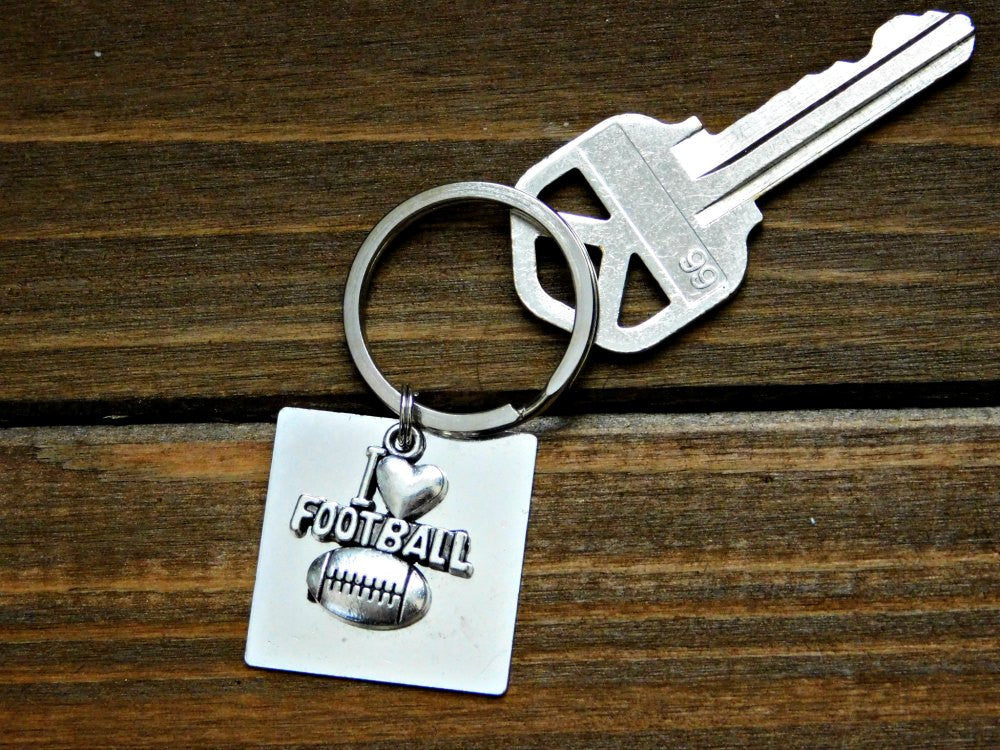 I Love Football Keychain Athlete Gift Coach Sports Fitness Charm American US Sport