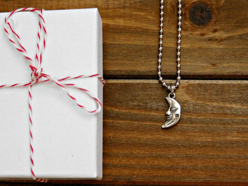 Crescent Moon Necklace Moon Charm Silver Moon Necklace Moon Pendant Charm Boho Layering Necklace