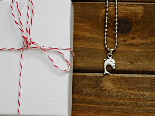 Dolphin Necklace Dainty Charm Pendant Dolphins Animal Beach Lover Sea Ocean Theme Boho Gift