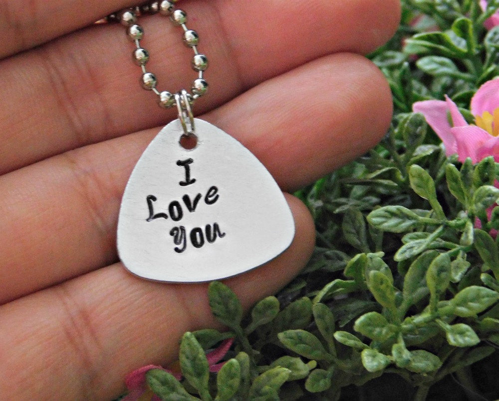 Stamped I Love You Necklace Love Necklace Engraved Silver Necklace Message Necklace Valentines Guitar Pick Necklace Boho Layer Birthday Gift