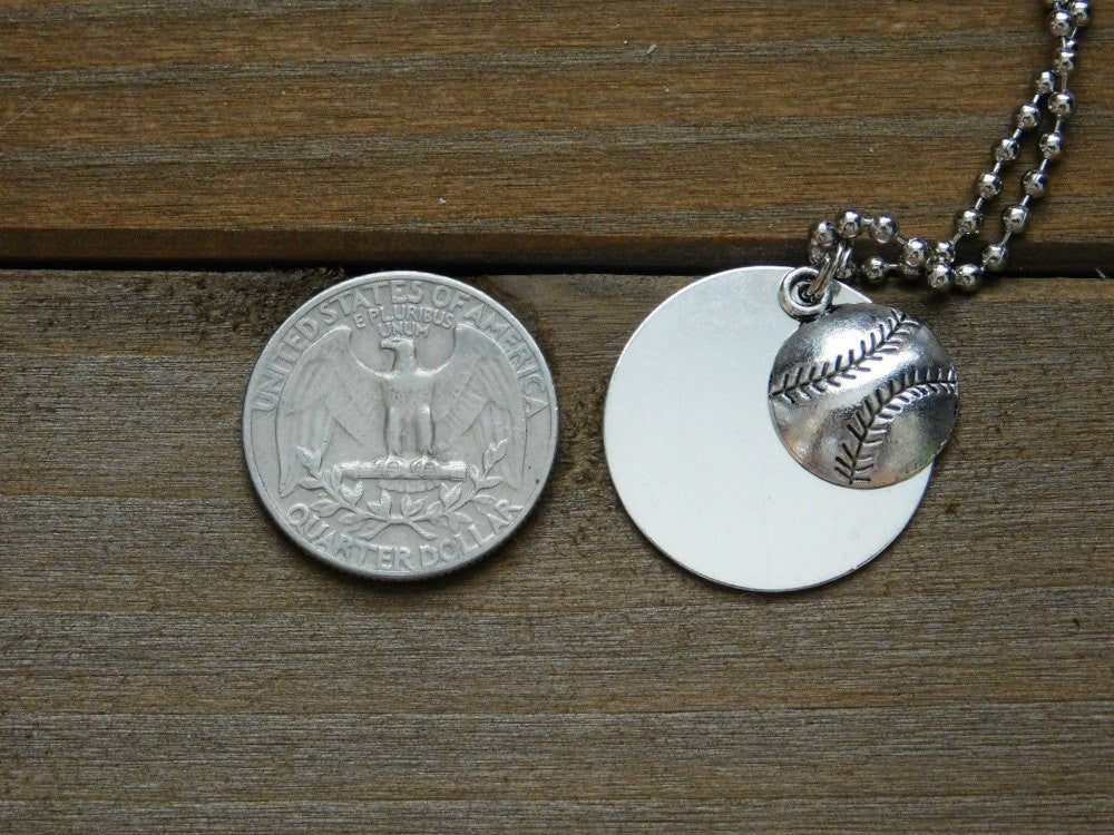 Custom Baseball Necklace Charm Personalized Name Text Stamped Sports Fan Athlete Coach Gift