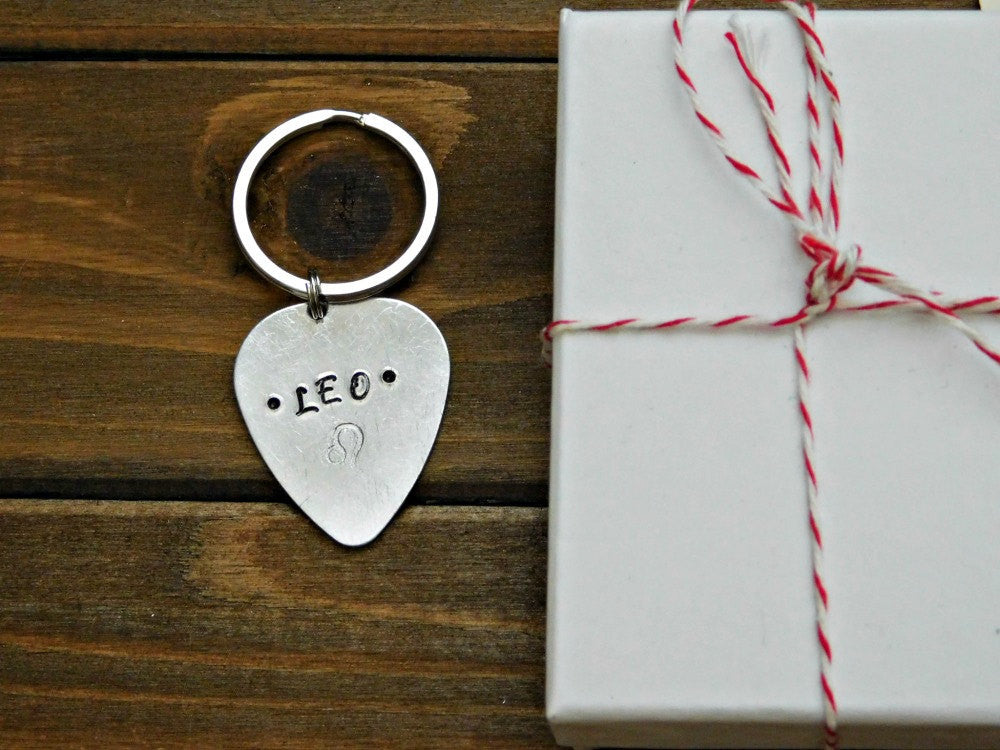 Leo Keychain Gift Zodiac Astrology Lion Symbol Sign Guitar Pick Birthday Stocking Stuffer Christmas