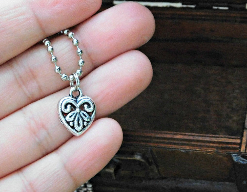 Silver Dainty Heart Necklace Heart Charm Heart Necklace Dainty Charm Love Necklace Valentines Layering Necklace Wedding Boho Birthday Gift