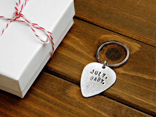 July Baby Keychain Leo Zodiac Sign Gift Birthday Lion Astrology Guitar Pick