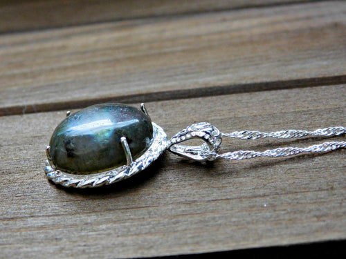 Gemstone Necklace Labradorite Dark Green Gem Gemstone Pendant Crystal Stone
