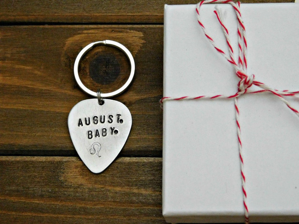 August Leo Keychain Zodiac Sign August Baby Birthday Stamped Gift Astrology