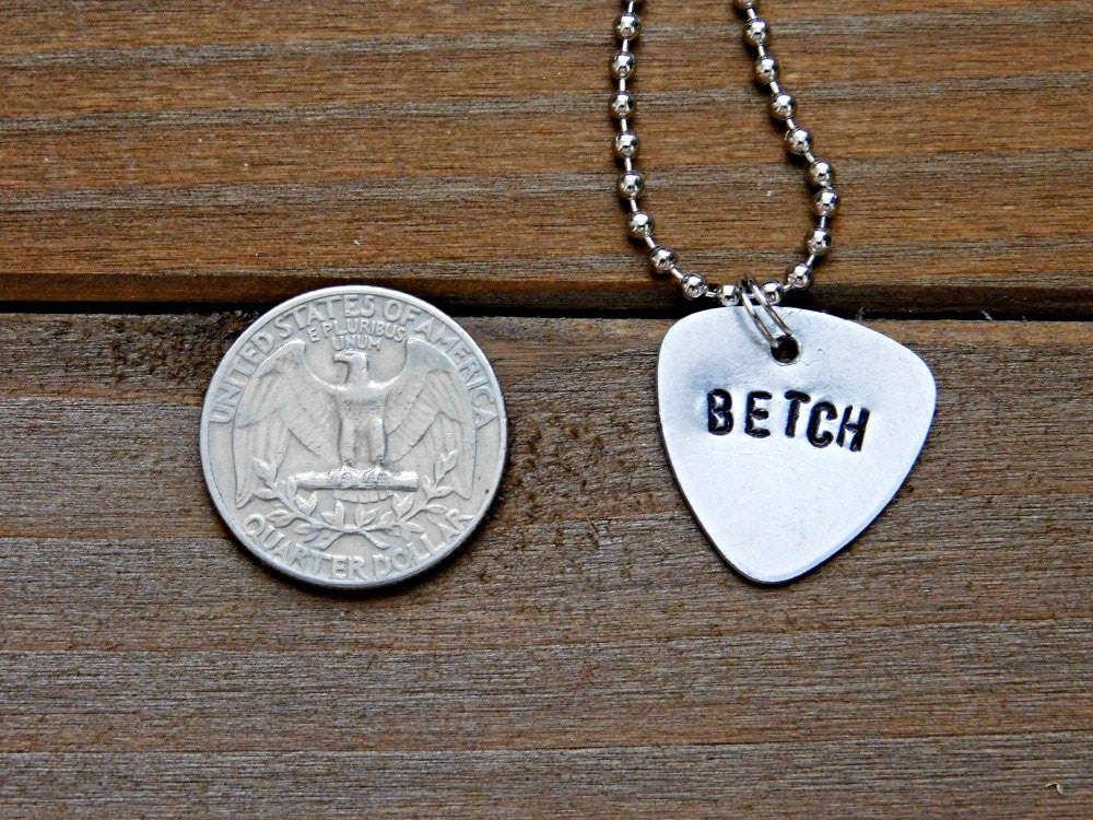 Betch Necklace Sassy Stamped Message Pendant Custom Length Chain Birthday Gift