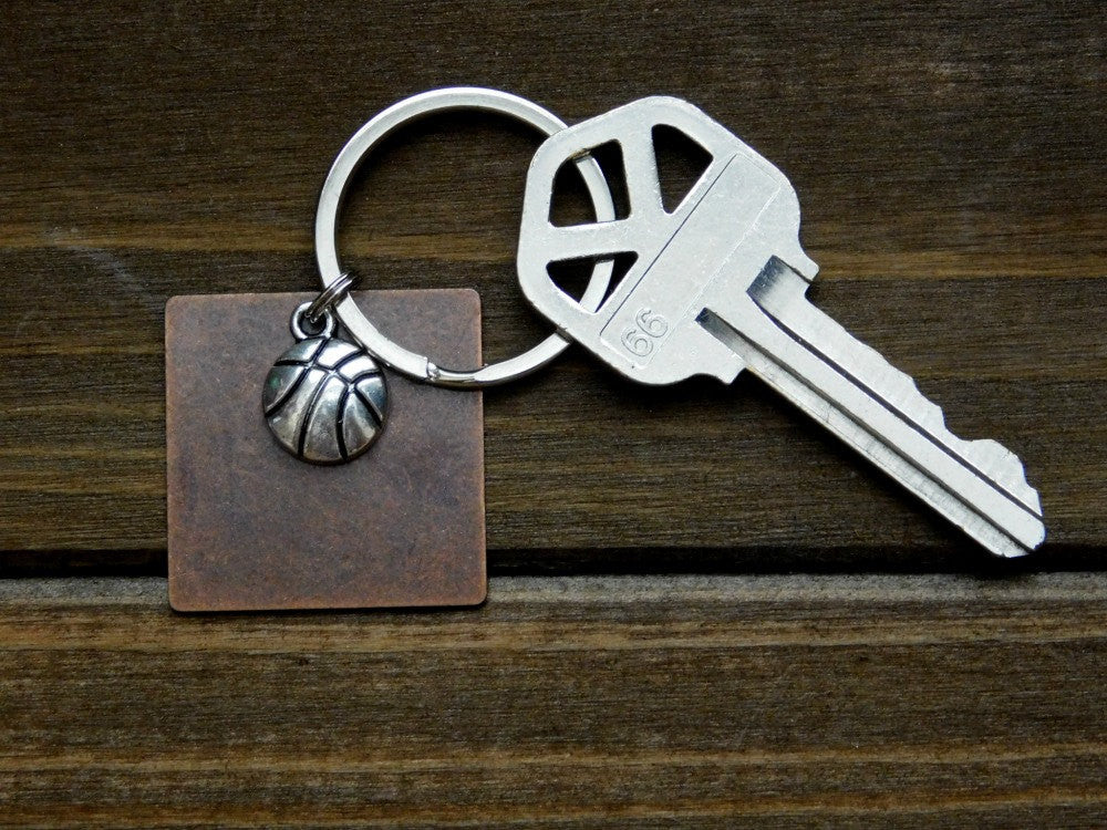 Basketball Keychain Charm Ball Sports Athlete Coach Gift Square Disc