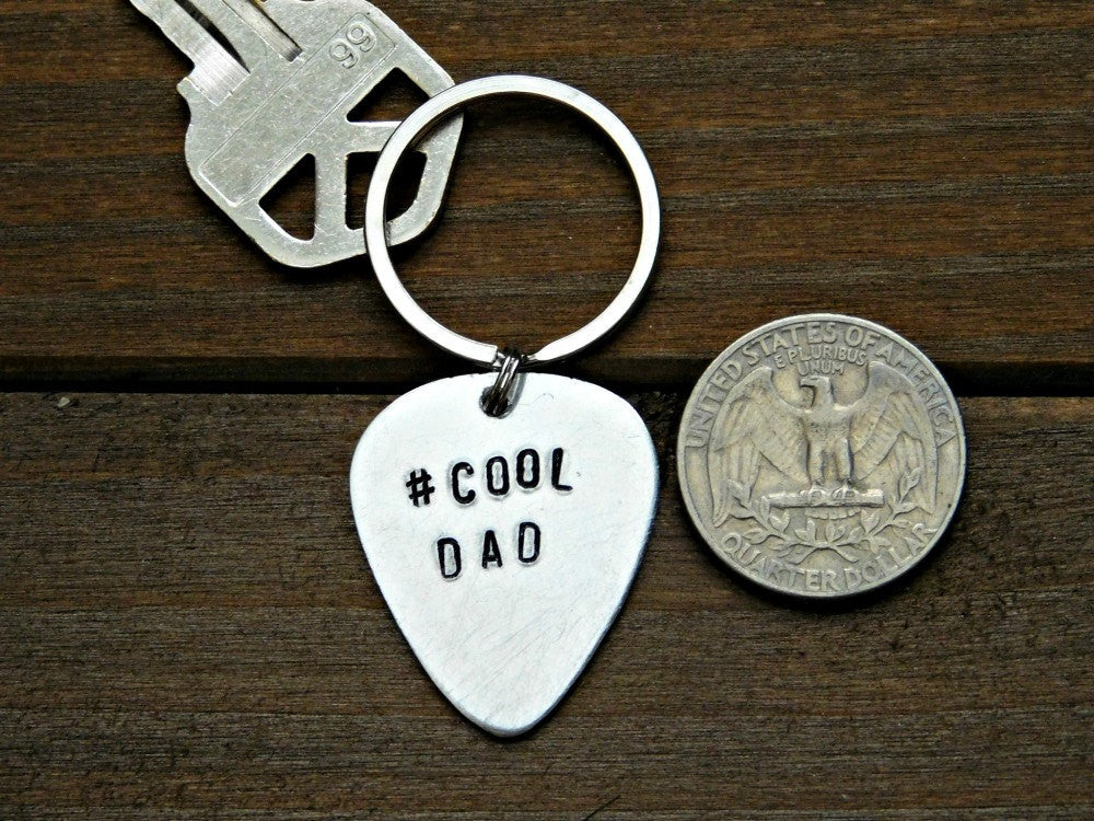 Cool Dad Keychain Hashtag Stamped Gift For Dad Guitar Pick Accessory Daddy Birthday Fathers Day Gift