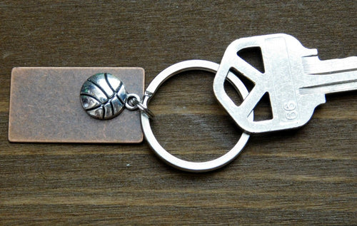 Basketball Keychain Player Athlete Gift Coach Unisex Sports Fan Rectangle Disc
