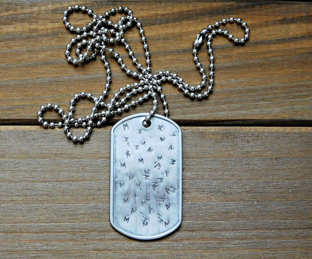 M Initial Necklace Engraved Military Dogtag Necklace Stamped Necklace Custom Initial Necklace Personalized Unisex Christmas Birthday Gift