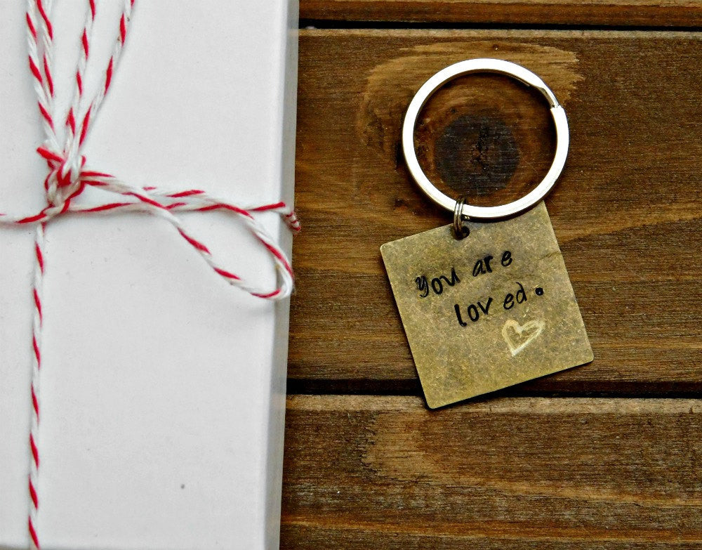 Love Keychain Engraved You Are Loved Stamped Message Brass Keychain Inspirational Inspiration Valentines Wedding Anniversary Birthday Gift