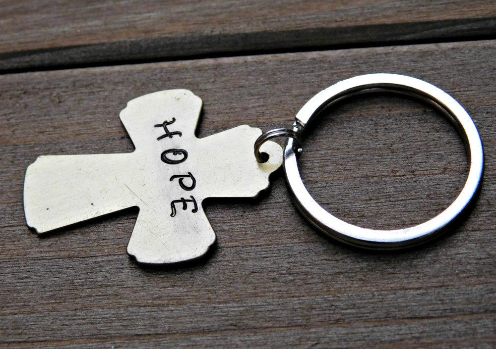 Hope Keychain Engraved Hope Stamped Message Cross Inspirational Christian Religious Birthday Gift