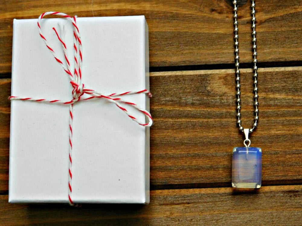 Opalite Necklace Crystal Gem Stone Gemstone Necklace Boho Layering Necklace Unisex Men Custom Length Chain Necklace Christmas Gift Birthday