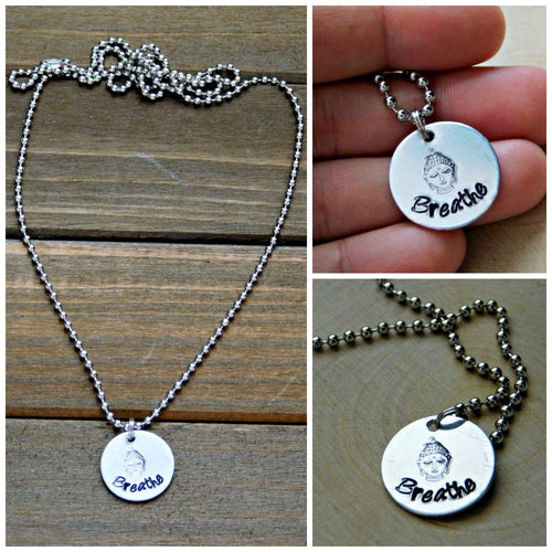 Breathe Necklace Buddha Zen Necklace Modern Inspirational Mindfulness Buddhist Pendant Stamped Gift