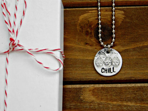 Buddha Necklace Chill Pendant Custom Stamped Zen Modern Buddhist Buddhism Birthday Gift