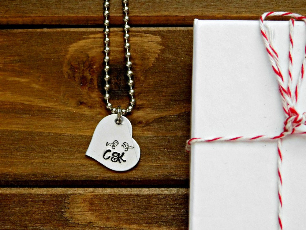 Lovebird Necklace Couples Custom Gift Initial Heart Pendant Stamped Valentines Wedding Birthday