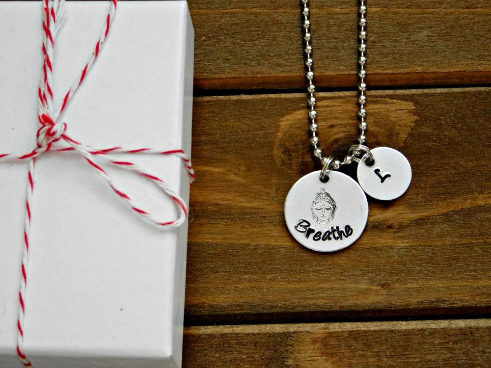 Breathe Necklace Buddha Custom Initial Inspirational Zen Meditation Buddhist Stamped Pendant Gift