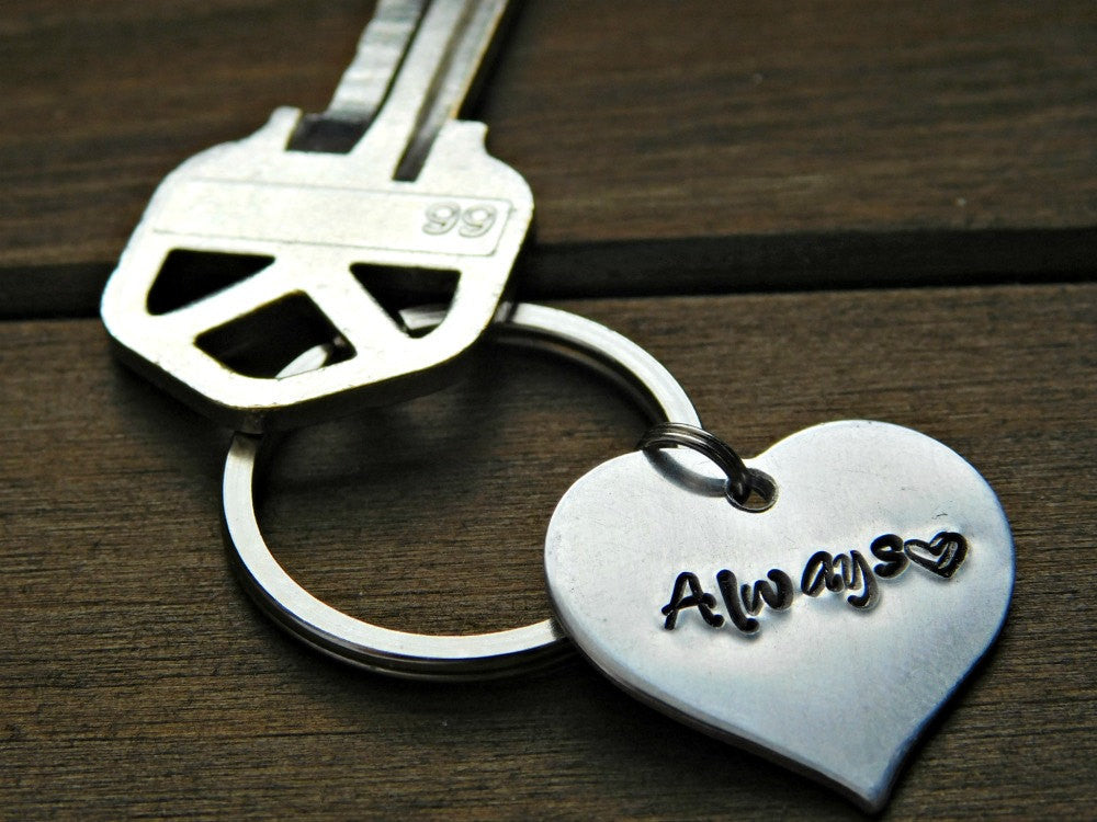 Always Keychain Couples Stamped Heart Couple Gift Valentines Wedding Anniversary Christmas Birthday