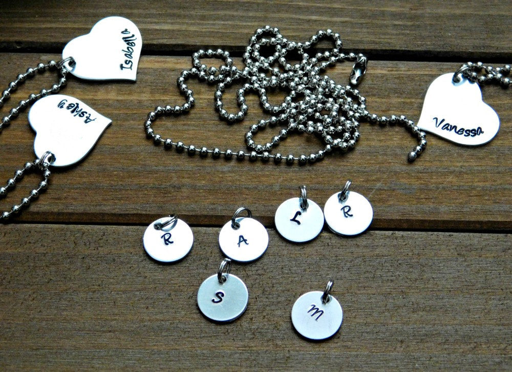 ADD ON Initial Letter Charm Uppercase Letters Charms Stamped Round Disc Extra Item
