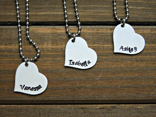 Custom Name Necklace Bridesmaid Gift Set Heart Pendant Wedding Bridal Party Birthday Personalized