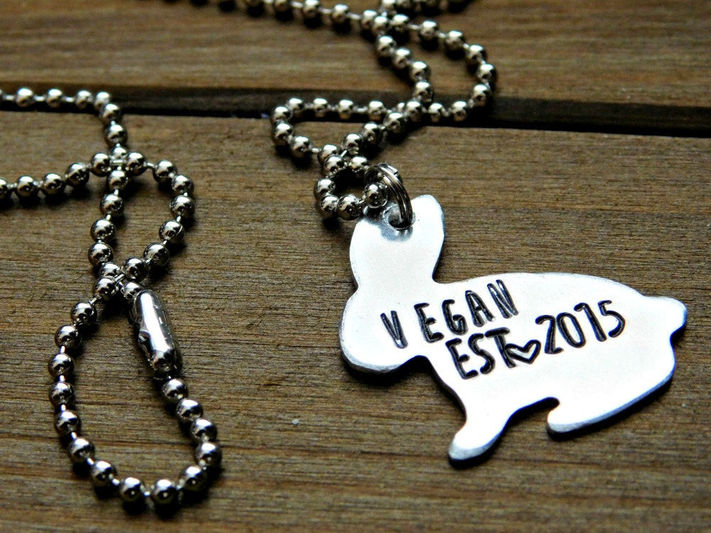 Vegan Bunny Necklace Vegan Est Date Custom Stamped Silver Rabbit Necklace Cruelty Free Plant Based Veg Vegetarian Raw Vegan Christmas Gift