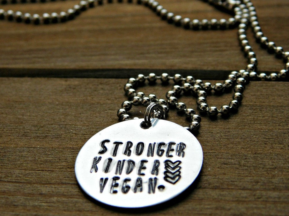 Stronger Kinder Vegan Necklace Vegan Jewelry Stamped Silver Plant Strong Raw Vegan Gift Veg Plant Based Cruelty Free Christmas Birthday Gift