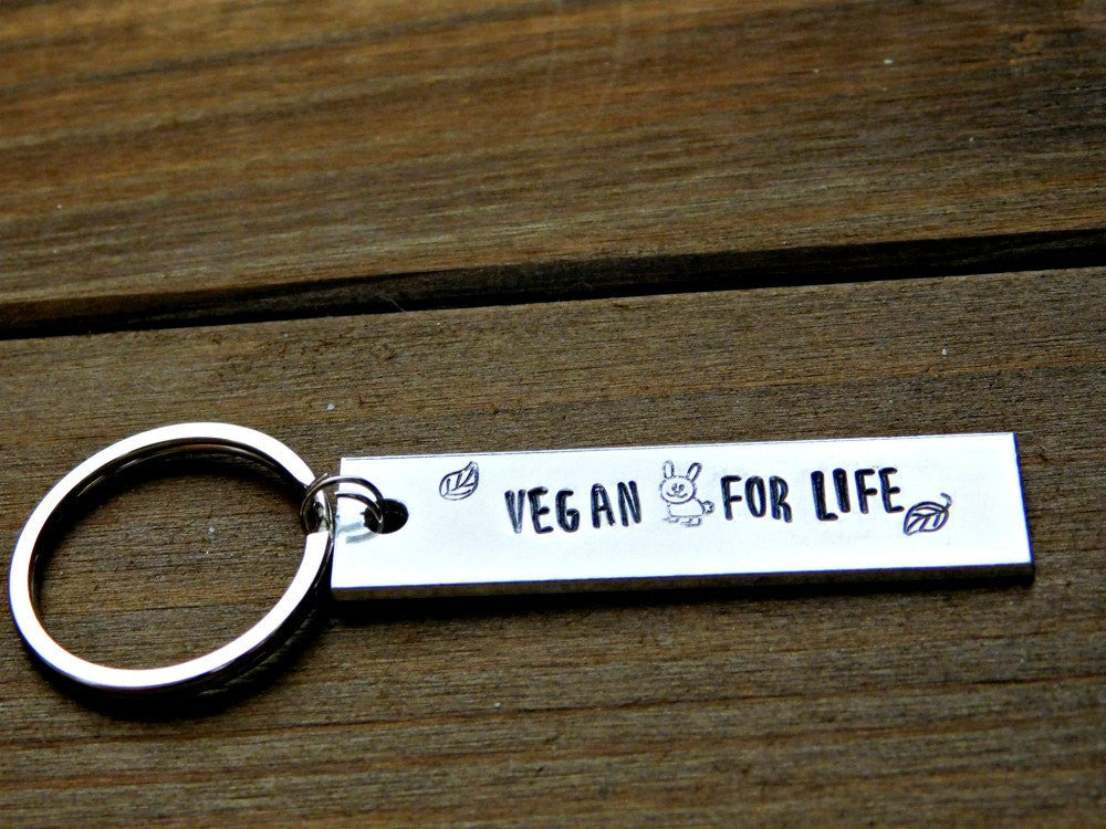 Vegan For Life Custom Gift Stamped Keychain Rabbit Leaf Christmas Secret Santa Vegetarian Stocking Stuffer Raw Plant Based Birthday Unisex