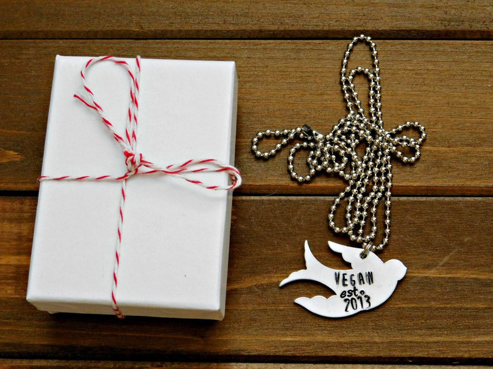 Vegan Necklace Bird Necklace Silver Custom Year Stamped Vegan Christmas Gift Birthday Cruelty Free Plant Strong Veg Animal Friend Earthling