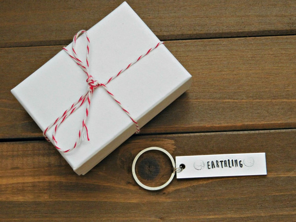 Earthling Keychain Vegan Gift Stamped Animal Friendly Eco Warrior Veg Birthday Christmas