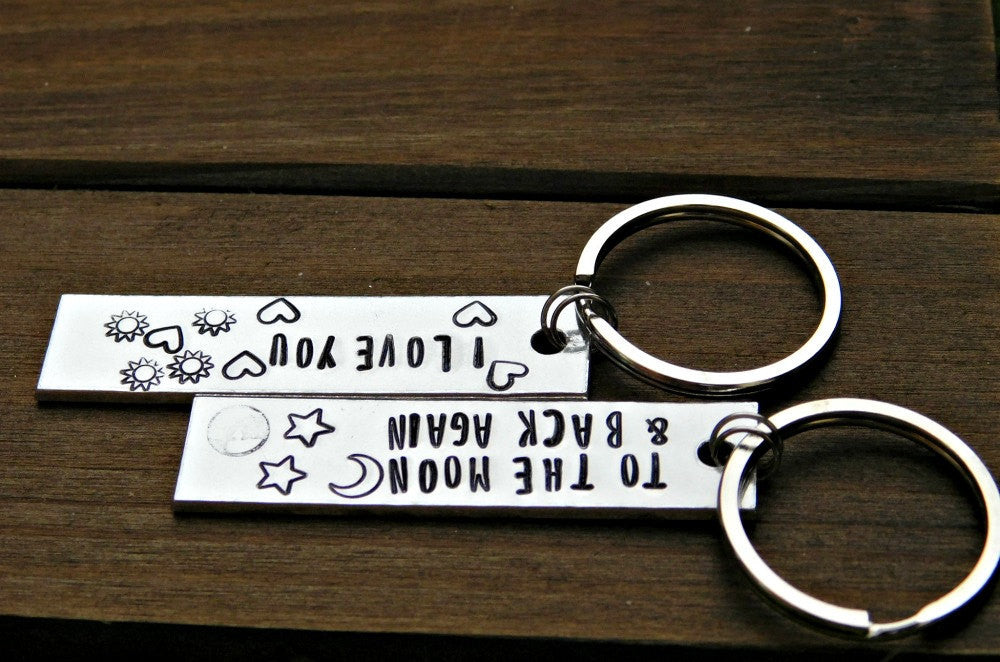 Couples Keychain I Love You To The Moon And Back Again Gift Set Valentines Wedding Christmas