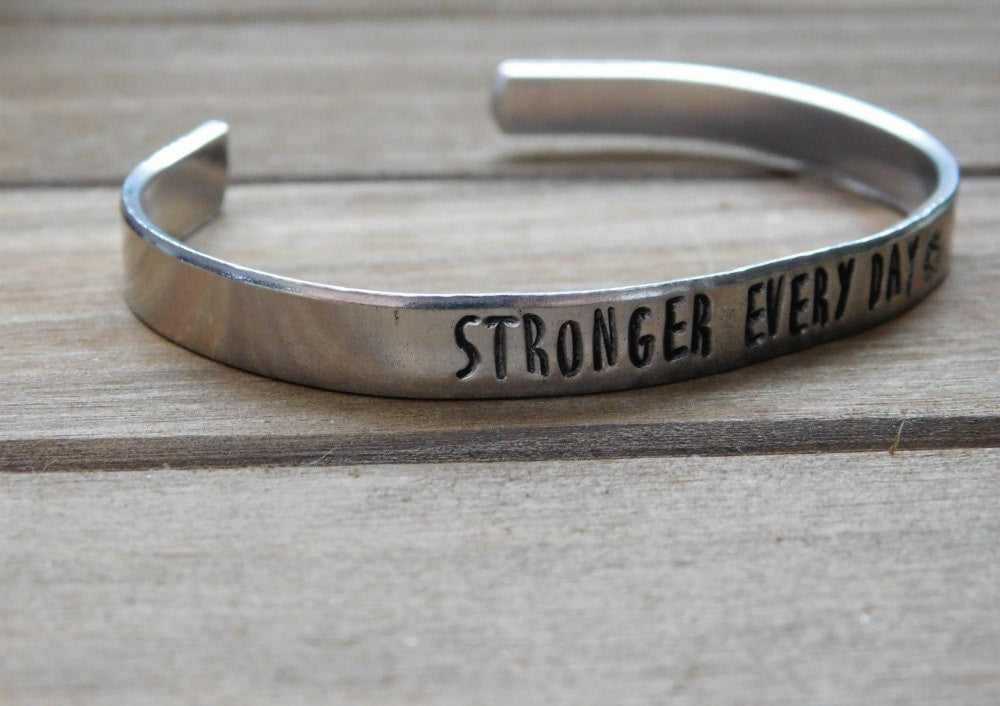 Stronger Every Day Bracelet Inspirational Message Stamped Recovery Get Well Bracelet Silver Unisex Cuff Bracelet Birthday Christmas Gift