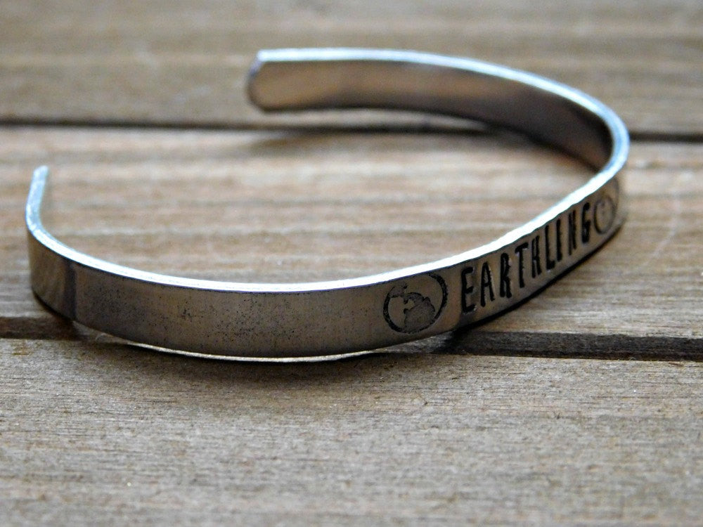 Earthling Bracelet Stamped Earth Vegan Cuff Earthlings Unisex Eco Warrior Veg Christmas Gift