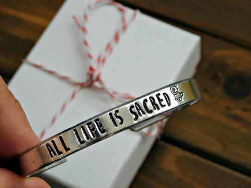 Ahimsa Bracelet All Life Is Sacred Vegan Yoga Unisex Cuff Stamped Inspirational Message Jewelry
