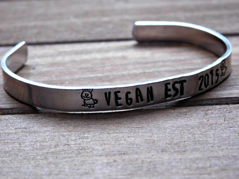 Vegan Stamped Bracelet Silver Cuff Bracelet Unisex Custom Vegan Jewelry Vegan Christmas Gift Engraved Date Year Rabbit Design Cruelty Free