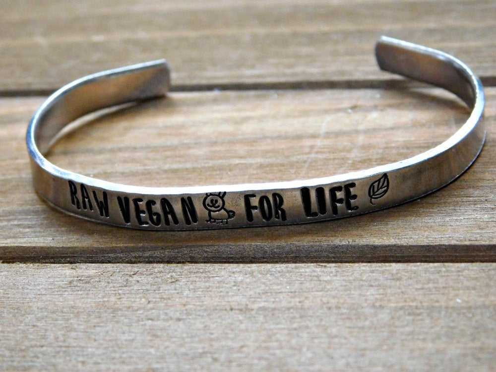 Raw Vegan Bracelet For Life Vegan Jewelry HCLF Fruitarian Healthy Living Inspiration Motivation Christmas Gift Fitness Weight Loss Birthday