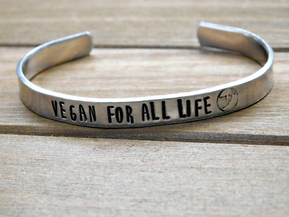 Vegan Gift Vegan Bracelet Vegan Jewelry Vegan For All Life Christmas Gift Inspirational Eco Friendly Healthy Living Motivation Plant Based